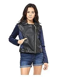 Yepme Skylar PU Leather Jacket - Black & Blue -- YPMJACKT5141_XS
