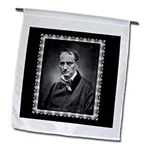 BLN Vintage Photographs of History and People 1800s - 1900s - Charles Baudelaire from1878 by Etienne Carjat Black and white Portrait of a Man - 12 x 18 inch Garden Flag (fl_160795_1)