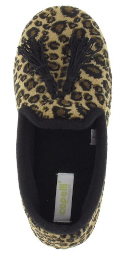 Cheap Capelli New York Leopard Printed Soft Boa Smoking Flat Ladies Indoor Slippers Natural Combo Large (B00937NT40)