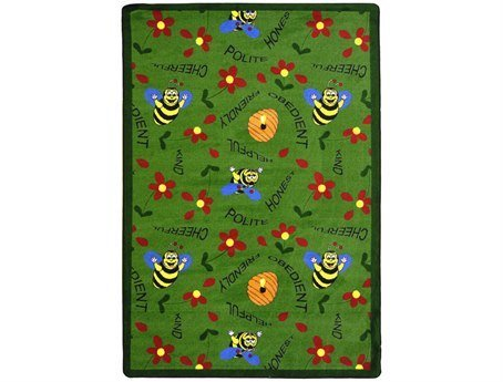 "Joy Carpets Kid Essentials Early Childhood Bee Attitudes Rug, Green, 5'4"" x 7'8"""