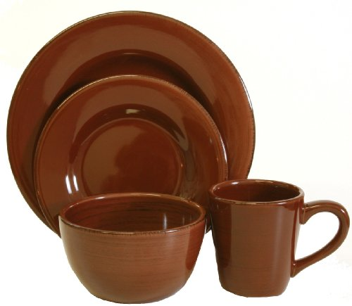 Tag Sonoma Ironstone Ceramic 16-Piece Dinnerware Set, Service for 4, Chocolate Brown
