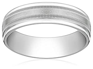 Men's Palladium 6mm Comfort Fit Plain Wedding Band with High Polished Round Edges and Satin Center with Milgrain, Size 9