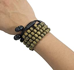 Best Headphones Wrap Bracelet: Easy Wrist Wrap Stores Ear Buds/No Tangled Cords- FUN Fashion Colors! - Brown Wooden Beads