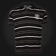 Guinness Polo Shirt - Black, Grey, White Stripes