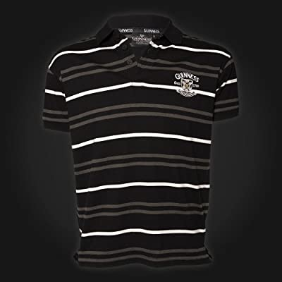 Guinness Black Gray White Stripe Golf Polo