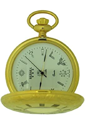 Bernex Pocket Watch GB21111 Gold Plated Half Hunter Masonic