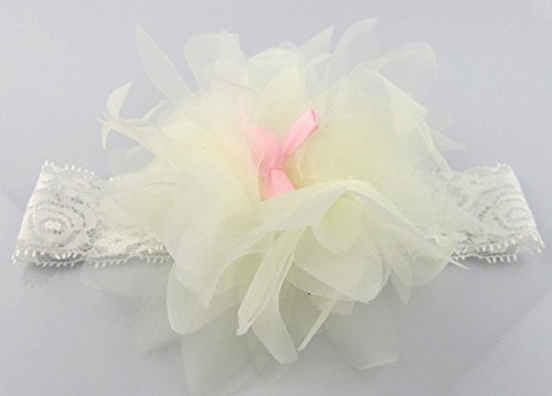 PinkXenia Bowknot Cream Big Flower Petal Newborn BabyGirl Soft Headband
