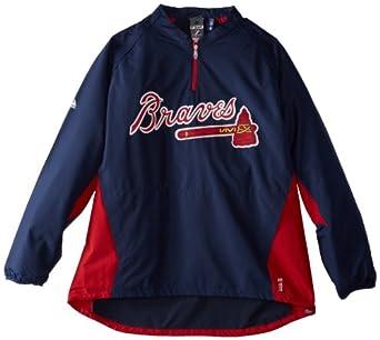 MLB Men's Atlanta Braves Gamer Jacket Long Sleeve 1/4 Zip V-Neck Gamer Jacket (Pro Navy/Pro Scarlt, Medium)
