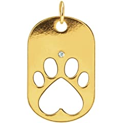 14K Yellow Gold Our Cause for Paws Dog Tag Necklace or Pendant