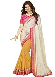 Mati Creation Latest Designer White And Yellow Saree