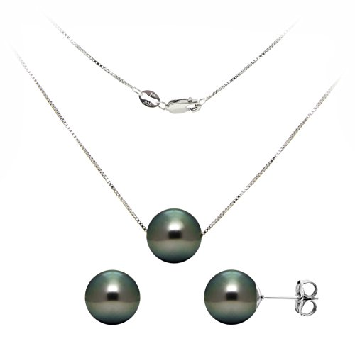 Sterling Silver Box Chain Pendant with a  Black Tahitian Cultured Pearl