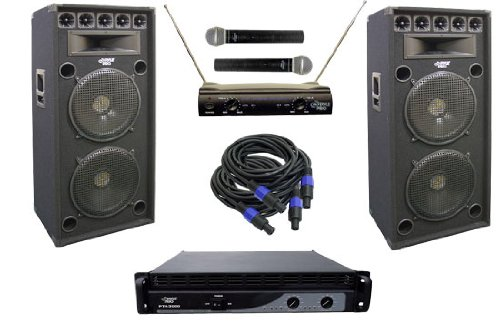 Pyle Ktda152 2400 Watt Complete Dj Stage Speaker System - Dual 15'' Eight-Way Amp/Mic'S/Cables