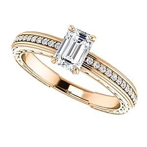 10K Rose Gold Emerald Cut Diamond Engagement Ring