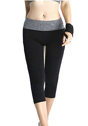 Saideng Da Donna Cotone Allenarsi Collant Capri Yoga Pantaloni Nero S/M
