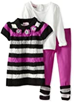 Little Lass Baby-Girls Infant 3 Piece Crochet Flowers Cable Sweater Set, Purple, 12 Months