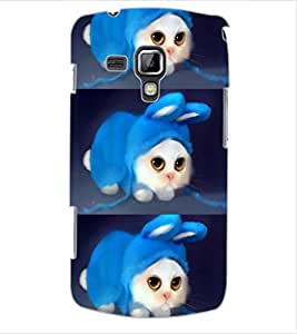 ColourCraft Cute Funny Cat Design Back Case Cover for SAMSUNG GALAXY S DUOS S7562