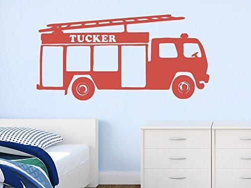 Wall Decal Vinyl Sticker Decals Art Decor Design Fire Truck Big Car Personalized Custom Name Kids Children Nursery (R249) front-901203