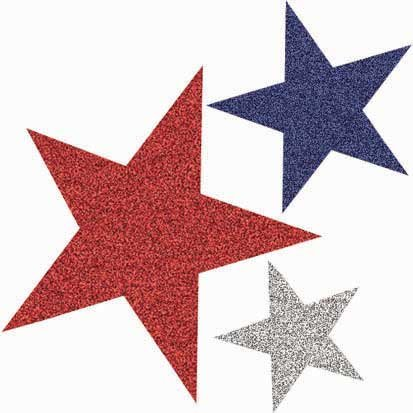 Red, White and Blue Glitter Star Assortment, 10pc