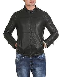 Lathero Men's Leather Jacket (SAJ-18B_Black_Medium)