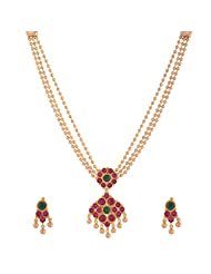 1 Gram Gold Plated Traditional Necklace Set With Multi Coloured Stones