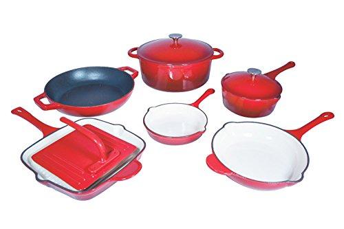Le Chef 9 Piece Enameled Cast Iron Cherry Cookware Set. (Cast Iron Cookware Porcelain compare prices)