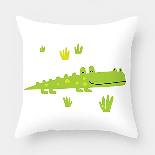 Beautfuldecor Home Decoration Happy Crocodile Pillowcase 18X18 Inch Throw Cushion Cover