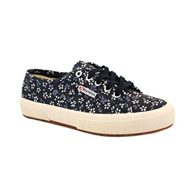 Superga 2750 Cotw Flwrs Womens Laced Canvas Trainers Navy - 8