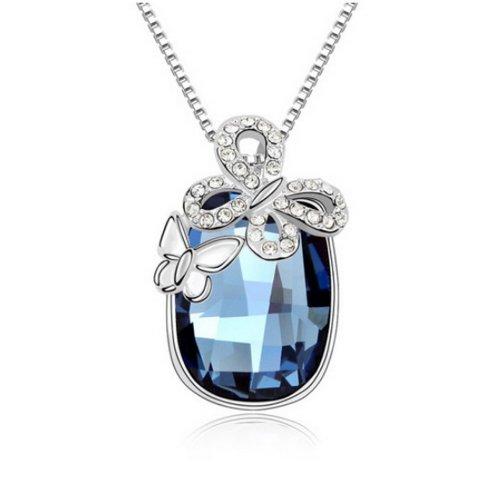 "Fashion Jewelry Butterfly Style Sterling Swarovski Crystal Pendant Necklace, 16"", Blue"