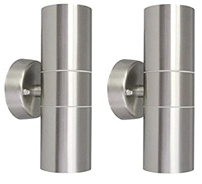 2 X Modern Stainless Steel Up Down Double Wall Spot Light IP65 Outdoor Use