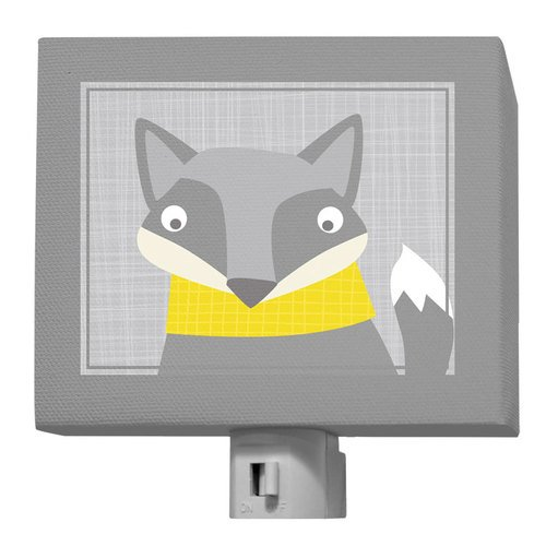 "Oopsy Daisy Happy Fox Night Light, Gray Yellow, 5"" x 4"""