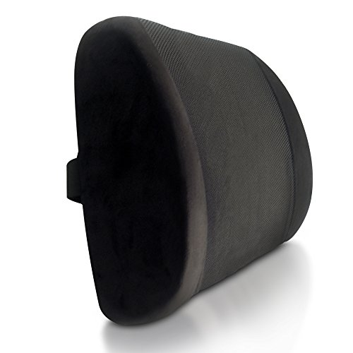 *LUMBAR ROYALE* Lumbar Support. Premium Lower Back Support Pillow with Luxurious, Breathable Cover. BEST Lower Back Pain Cushion. With Strap. Perfect for Office Chair Desk Chairs, Car Seat, Auto