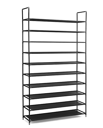 Halter 10 Tier Stainless Steel Shoe Rack / Shoe Storage Stackable Shelves    Holds 50 Pairs