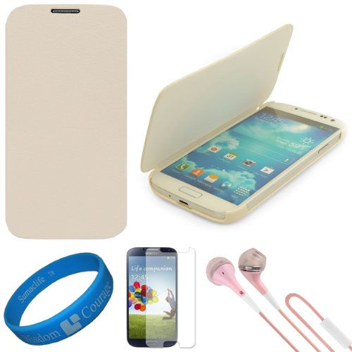 Vg Premium Faux Leather Flip Carrying Case W/ Sleeve Mode Function (White) For Samsung Galaxy S4 / S Iv Android Smart Phones + Clear Anti Glare Screen Protector Strip W/ Cleaning Cloth + Pink Vg Stereo Headphones With Windscreen Mic & Silicone Ear Tips +
