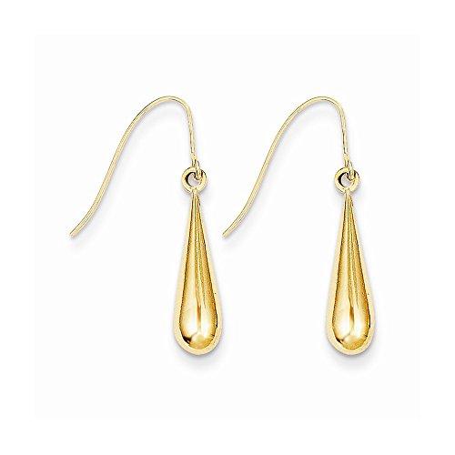 14k Gold Tear Drop Earrings (0.94 in x 0.16 in)