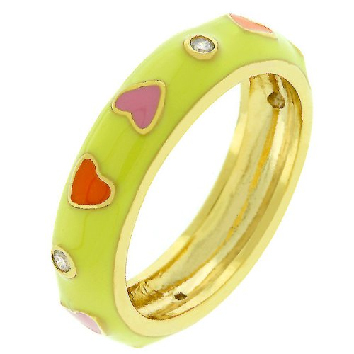 Red & Pink Heart Yellow Enamel 14k Gold Plate Cubic Zirconia CZ Promise Ring (Size 5,6,7,8,9,10)