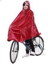 自転車用 レインコート ポンチョタイプ 成人用 フリーサイズ 赤