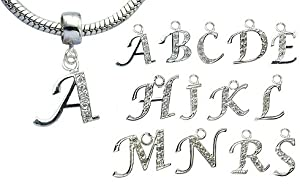 GlitZ JewelZ Silver and CZ Letter A Charm