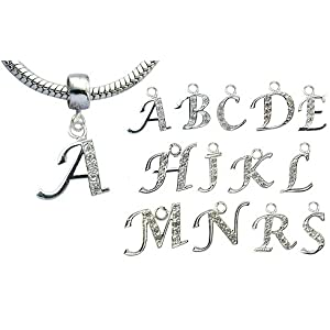 Pandora compatable charms by GlitZ JewelZ ? - Silver Letter A - fits pandora, chamilia & troll bracelets - we use the best quality CZ crystals - carefully hand polished and the crystals are hand set - see the menu below to choose other letters