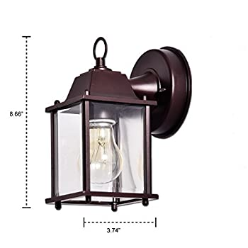 Truelite Vintage Style Outdoor Wall Sconce 1 Light Industrial Clear Glass Panels Wall Lanterns