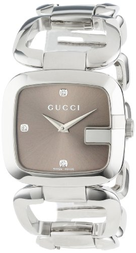 Gucci Women's YA125401 G-Gucci Medium Diamond Brown Dial Steel Watch