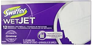Swiffer WetJet Spray, Mop Floor Cleaner Pad Refills, 12-Count (Pack of 8) (Packaging May Vary)