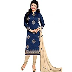 new arrival festival blue embroidered chanderi cotton party wear salwar suit dress material for women