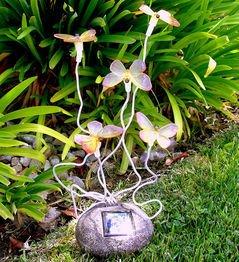Decorative Small Butterflies Garden Solar Lights With 5 Blinking Leds