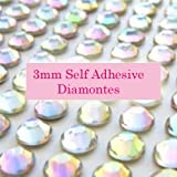 300 AB Clear 3mm Acrylic Rhinestone Gems ~ Self Adhesive