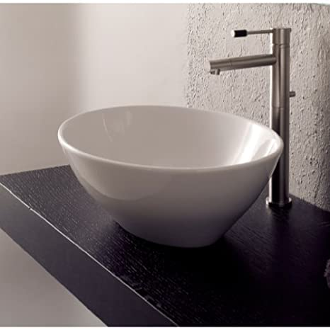 Scarabeo 8011 Oval-Shaped White Ceramic Vessel Sink 8011