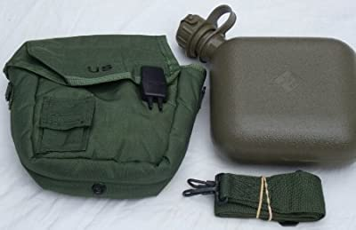 OD Green Military Issue 2 Quart Water Canteen with New issue Carrier and sling free ship from Unicor