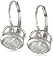 Platinum Plated Sterling Silver Round-Cut Bezel-Set Cubic Zirconia Earrings by Amazon Curated Collection