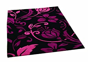 Rugs With Flair Infinite Damask Black/pink 190x290 Oblong by Rugs With Flair