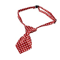 uxcell® Dots Pattern Adjustable Dog Cat Pet Puppy Grooming Necktie Red