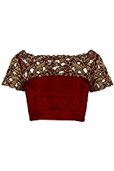 Fabron Red designer cutwork unstitched blouse for women